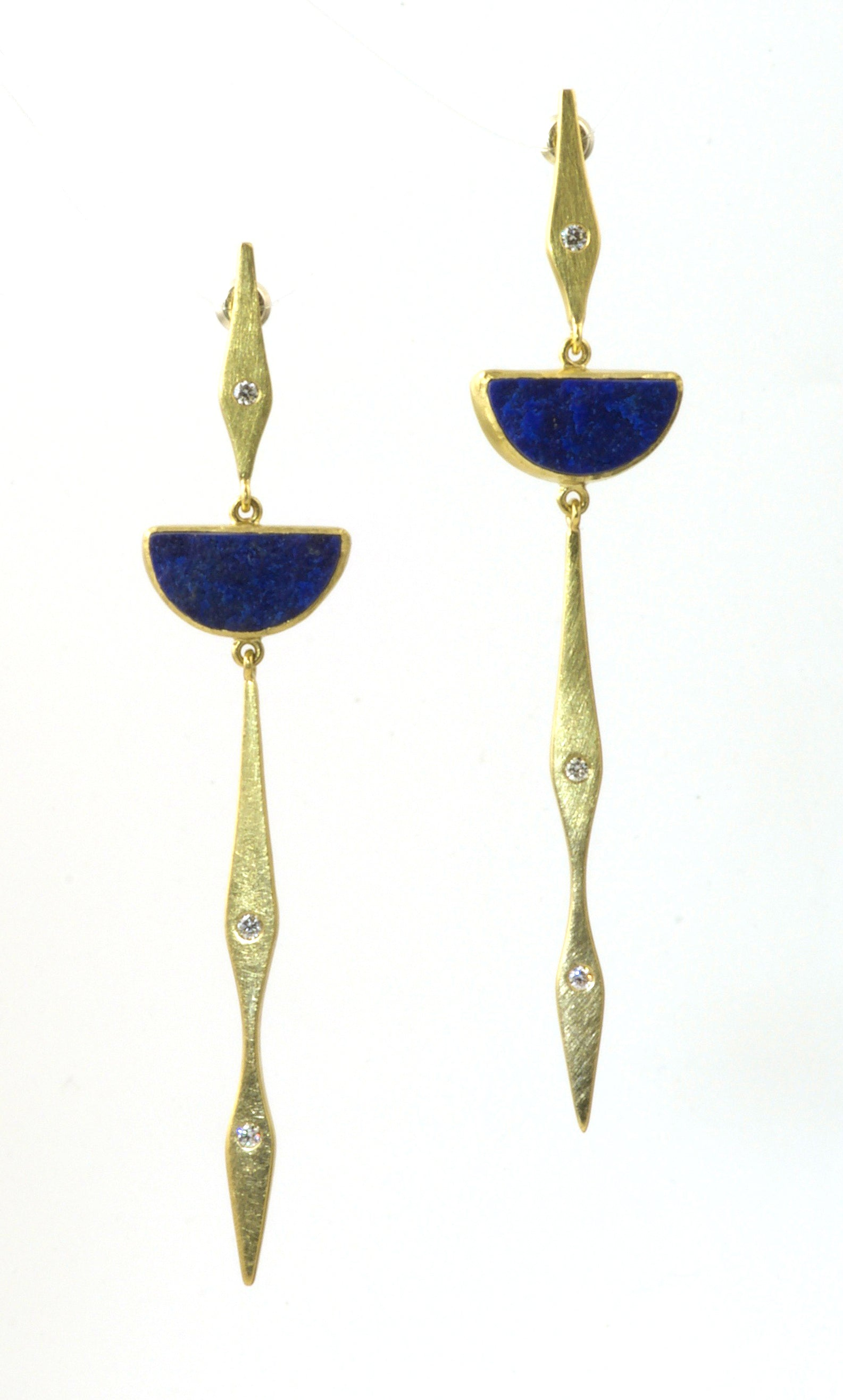 Long Feather lapis earrings