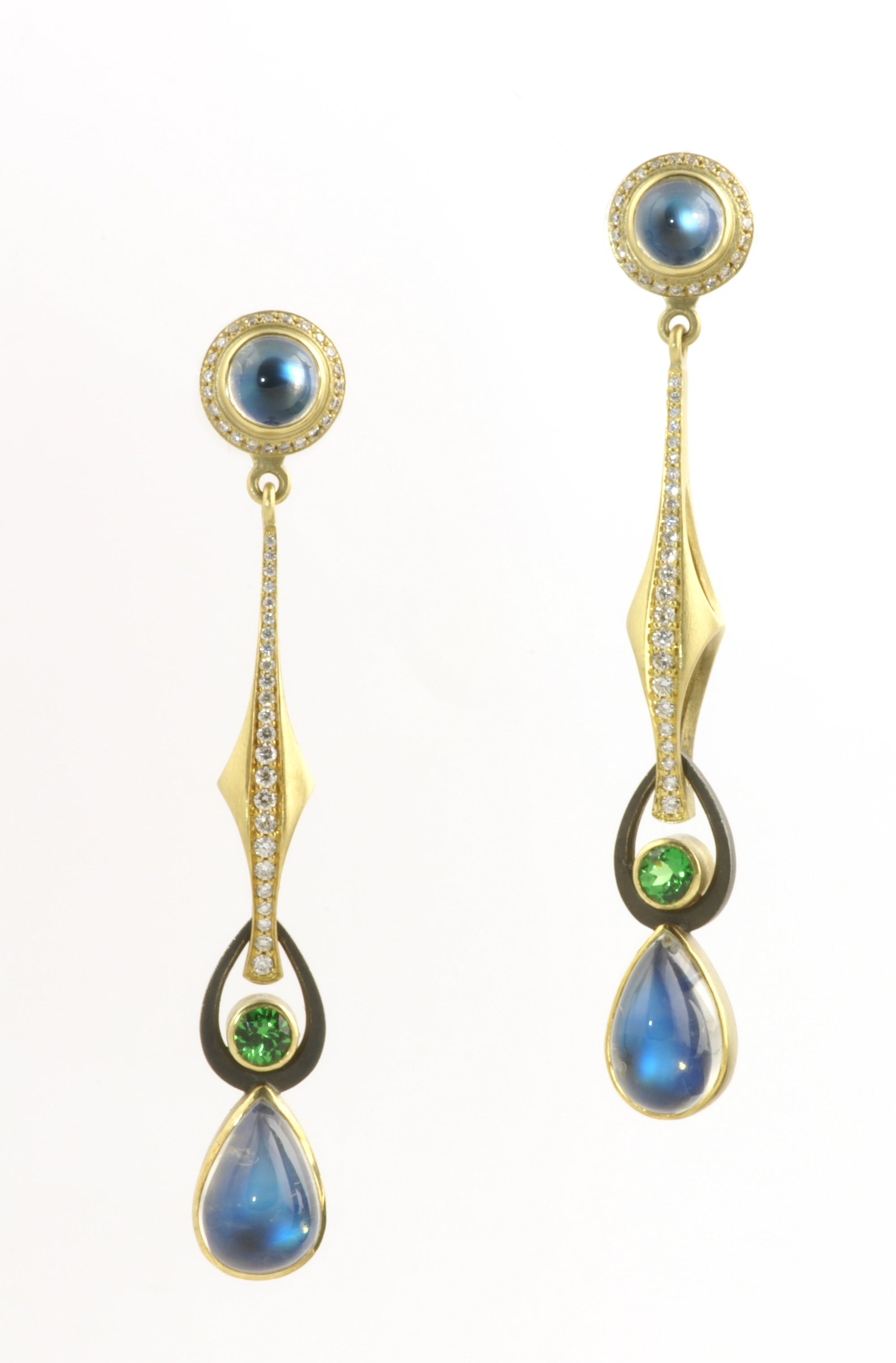 Moonstone earring stud and drops