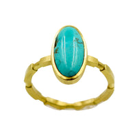 18K CARICO LAKE TURQUOISE STACKABLE RING