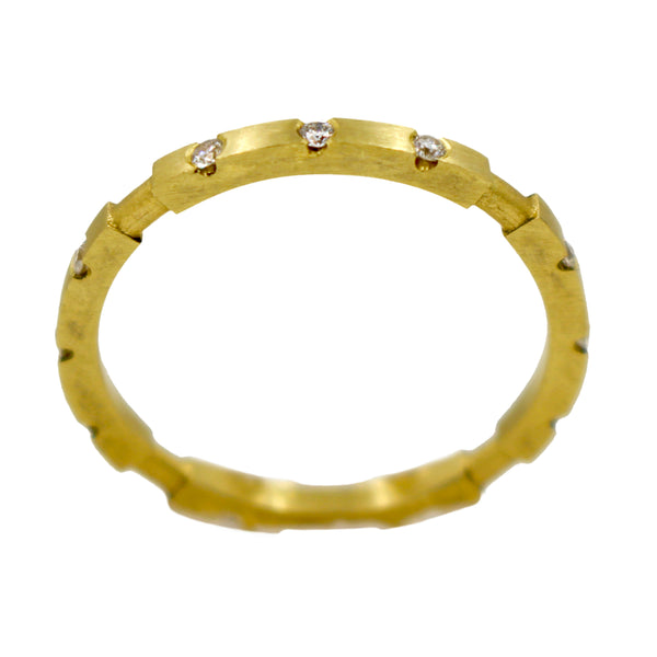 18K 8 part stackable ring with diamonds