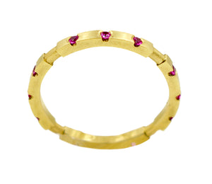18k Pink Sapphire Square stack ring