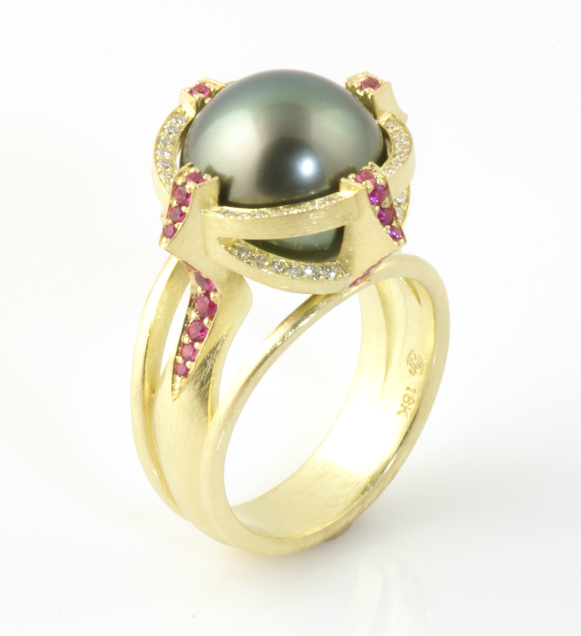 Rolling Pearl and Sapphire ring