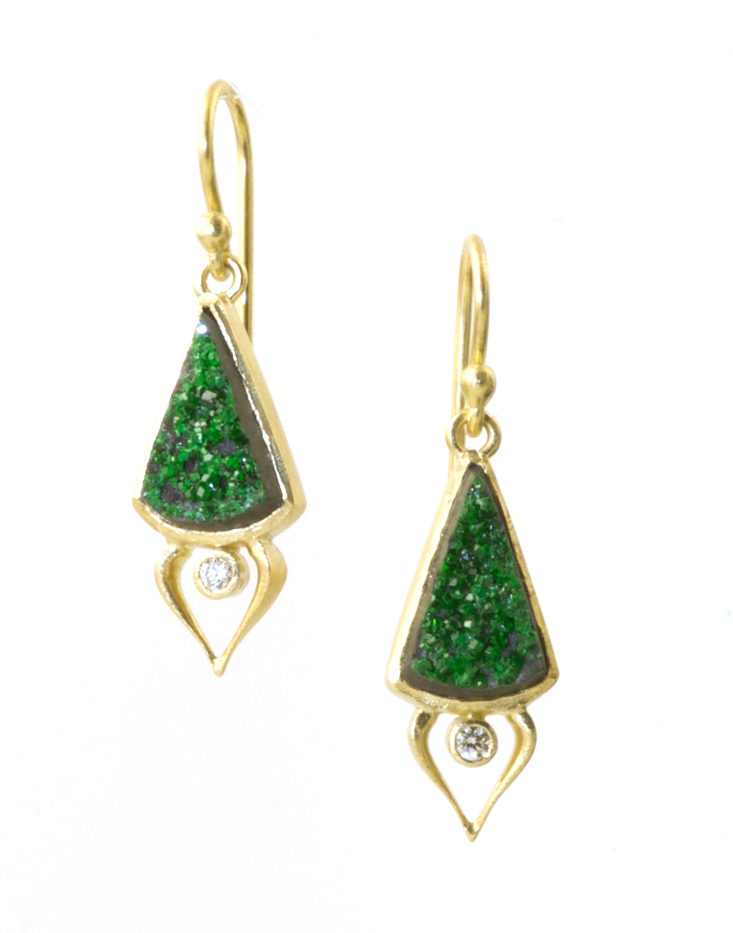Tsavorite Druzy Earrings