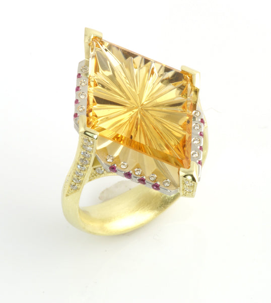 Citrene Sunburst Ring