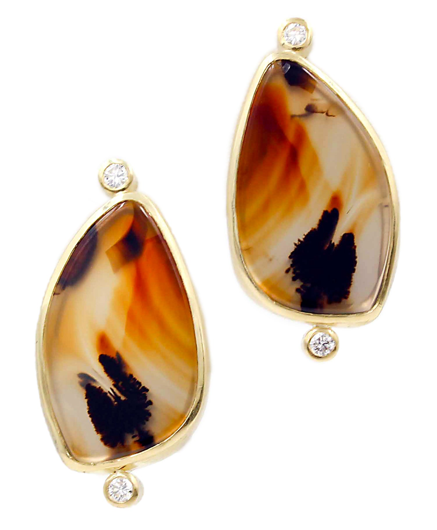 18K Agate Stud earrings