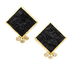 18K Black Jade stud earrings