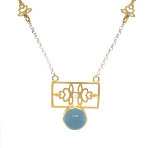 Aquamarine Necklace with blossom panel