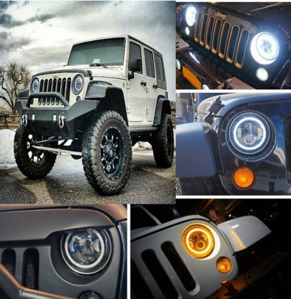 Jeep Wrangler 7 inch round LED headlight kit with white/Switchback halo - OffroadLEDbars