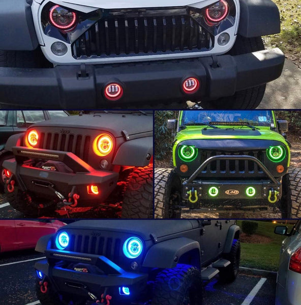 2008 -2017 Jeep Wrangler RGB LED Halo Headlights and fog lights - OffroadLEDbars