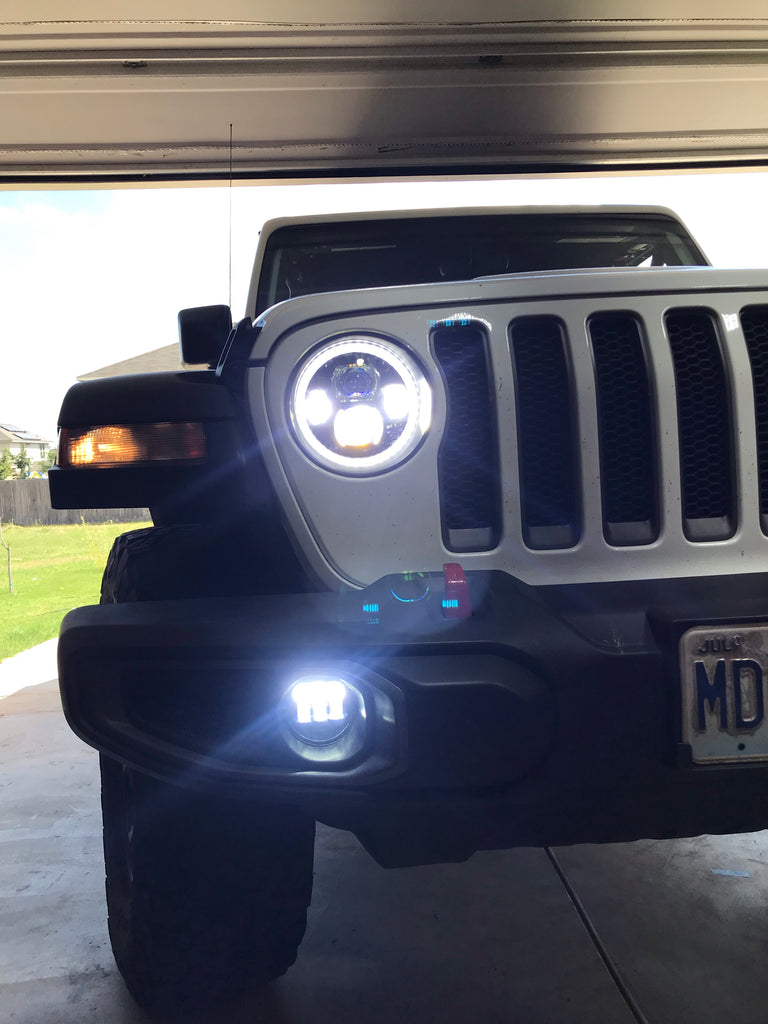 A/&UTV PRO 9 Inch Headlights with Halo DRL Adjustable Screw,Compatible with 2018 2019 2020 Jeep Wrangler JL Gladiator JT Accessories Jeep Wrangler JL LED Headlights