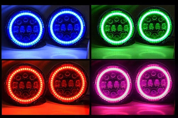 Spider eyes 2008 -2017 Jeep Wrangler RGB LED Halo Headlights and fog lights