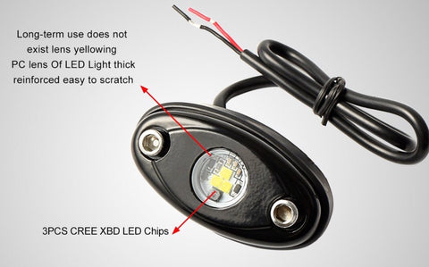 OLB white, red, blue, or green LED Rock lights 8 pods - OffroadLEDbars