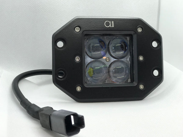 2-3 Inch Dual LED Cube Kit With Flush Mounts Reverse Lights