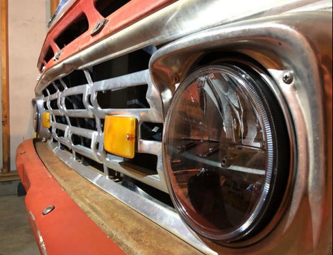 7 inch round SPLIT series LED headlamp kit Jeep, Old School Chevy, Ford, GMC, - OffroadLEDbars