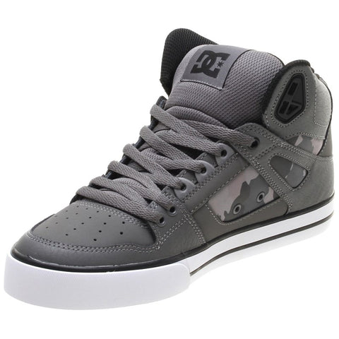 DC Pure High Top WC SP Gun Metal/White Skate Shoe