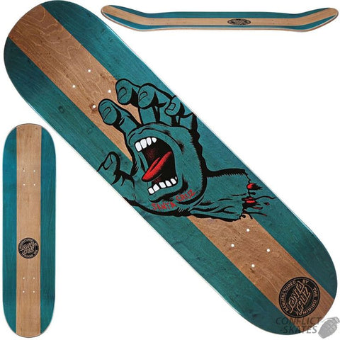 Santa Cruz Team Deck Stained Hand Blue 7.6 Inch
