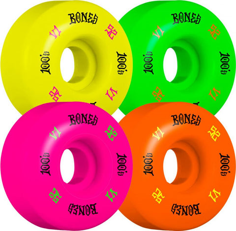 Bones Wheels 100's Party Pack #4 V1 Grn/Purp/Yel/Org 52 MM