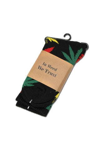 Socks 'In Weed we Trust!' black Hempleaf