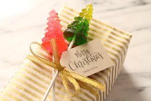 Christmas Tree Lollipops - Bright  Christmas Trees - Stocking Stuffer - Fun Holiday Hostess Gift - Christmas Table Decoration - 8 PCS