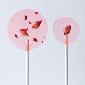 Rose Petal Lollipops - Valentine Gift - Bridal Party Favor  8 PCS/2 Sizes