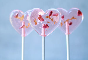 Rose Heart Lollipops  with 24K Gold Leaf 8 PCS