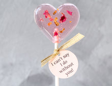 heart shaped lollipop with rose petals and 24 K gold leaf