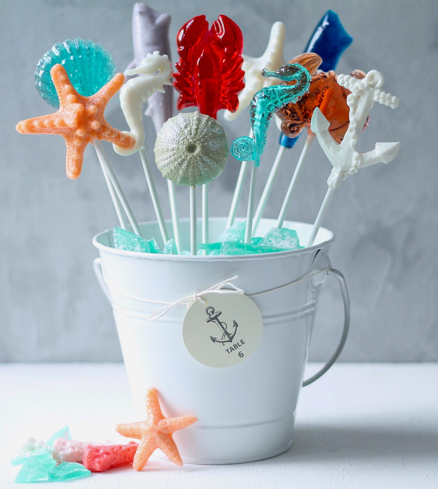 Nautical Lollipop Centerpiece| Beach Bridal Shower 12 PCS