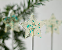Metallic Glitter Star Lollipops - Hanukkah Favor - 8 Days of Gift Giving - Winter Wonderland Party - 8PCS