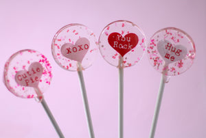 Convo Message Heart Valentine Lollipops  Small Round 8 PCS