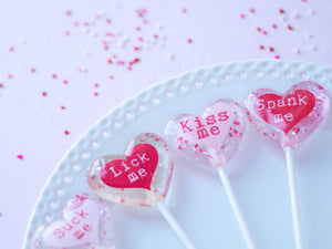 x rated conversation message heart lollipops
