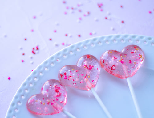 Sprinkle Sparkle Valentines Heart Lollipops - 8PCS