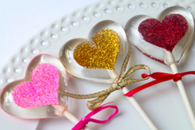 Floating Glitter Heart Lollipops -  Valentines Party Favor - 8 PCS