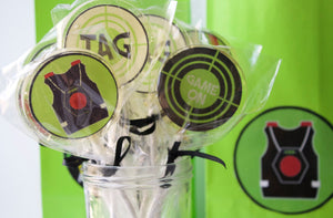 Laser Tag Party  Lollipops 8 PCS