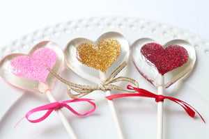 Floating Heart  within a heart Valentines Sparkle Lollipops 8 PCS