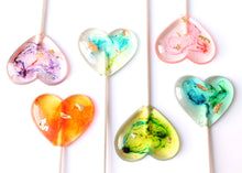 Marbleized Tie Dye  Psychedelic Heart Lollipops set 8 PCS