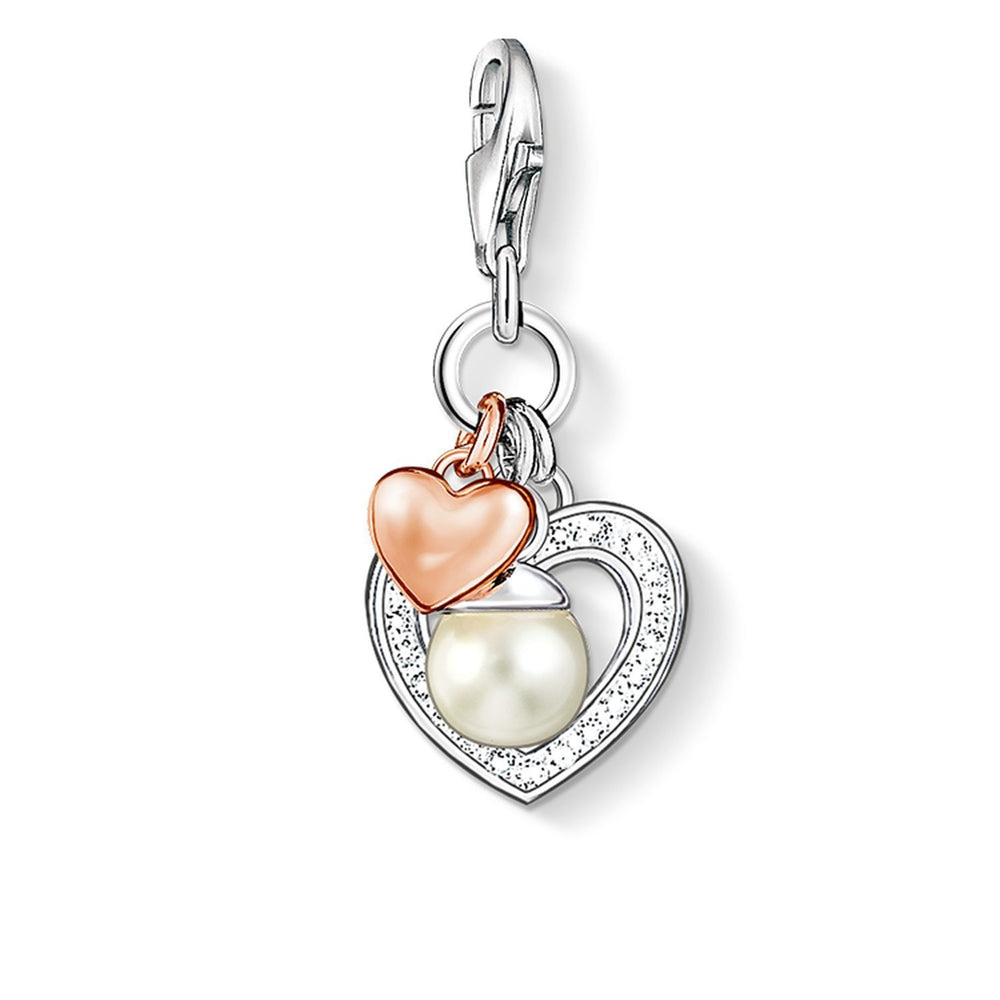 "Charm Pendant ""Hearts With Pearl"""