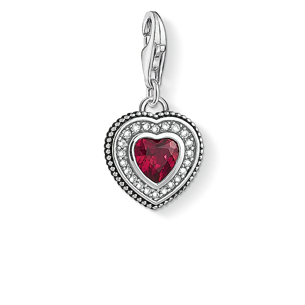 "THOMAS SABO Charm Pendant ""Heart With Red Stone """