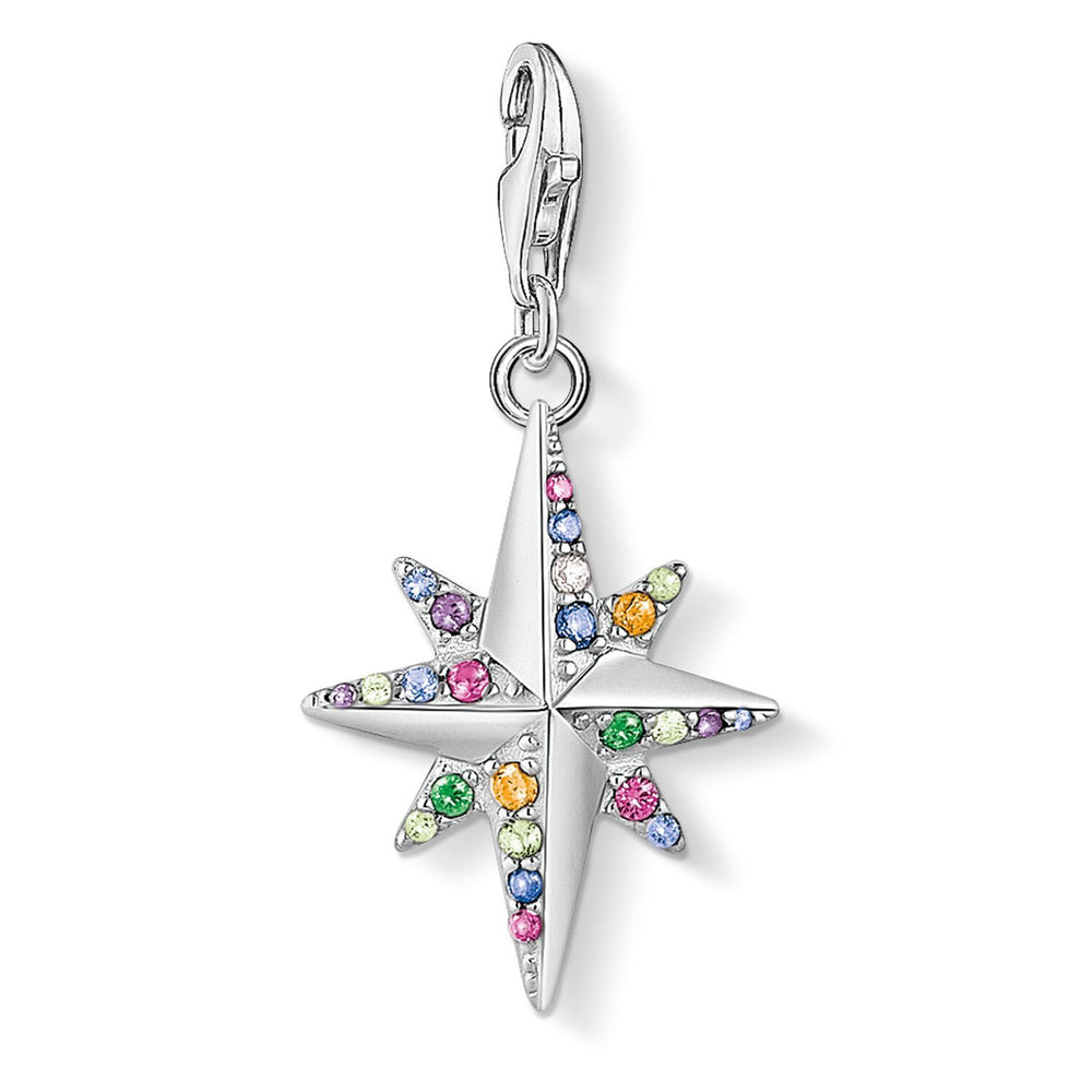 Charm Pendant Colourful Star, Silver