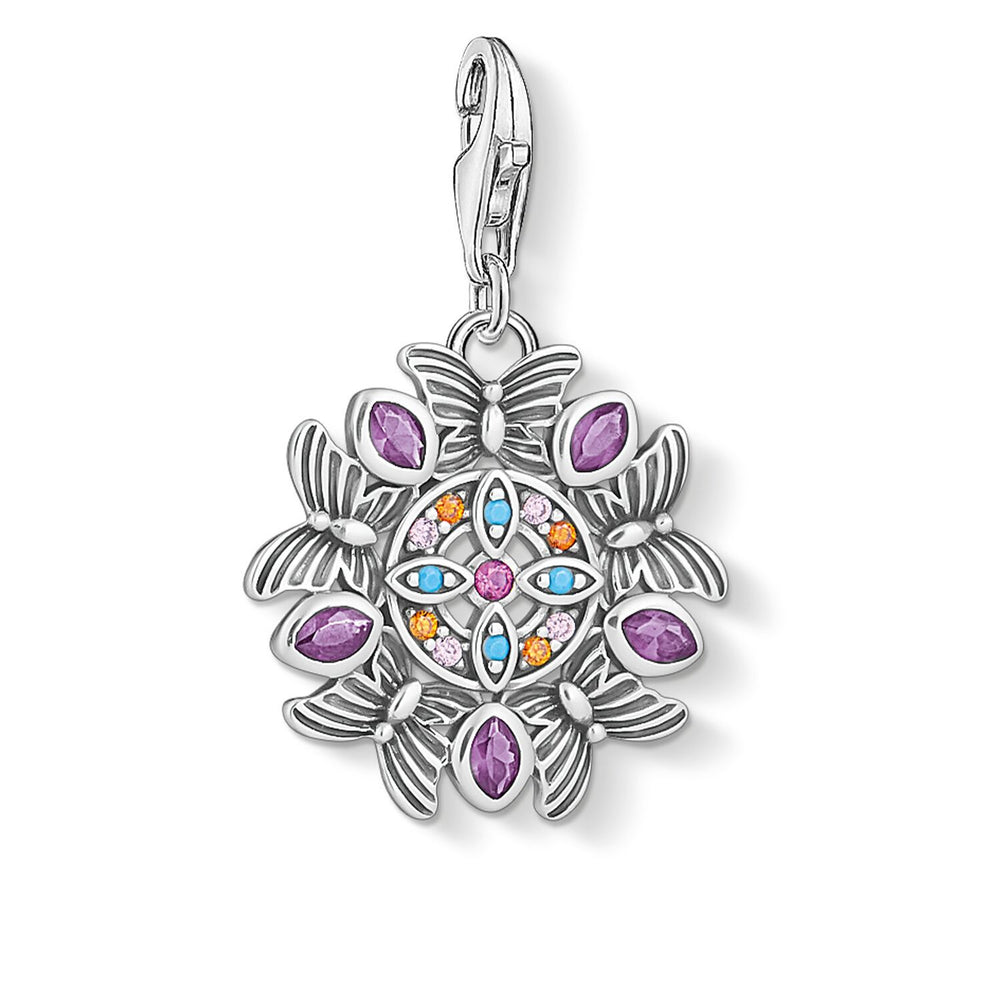 Charm Pendant Amulet Kaleidoscope Butterfly Silver