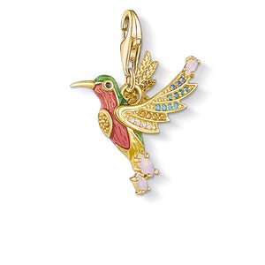 Charm Pendant Colourful Hummingbird Gold