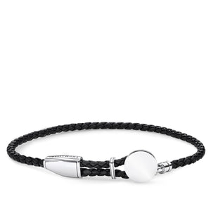 Black Leather Sterling Silver Disc Bracelet | Thomas Sabo