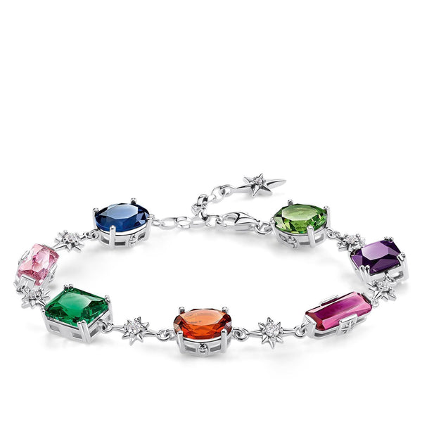 Bracelet Colourful Stones With Silver Stars