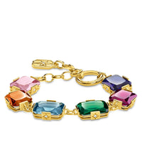 Bracelet Large Colourful Stones, Gold