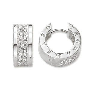 Sterling Silver Classic White Pave Hoop Earrings | Thomas Sabo