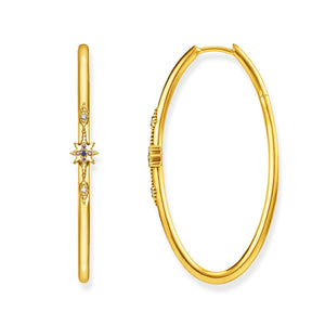 Gold Plated Royalty White Oval Hoop Earrings | Thomas Sabo