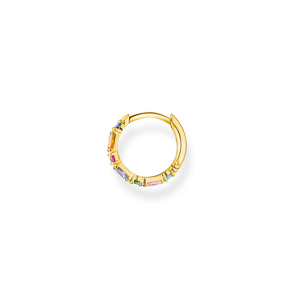 Single Hoop Earring Colourful Stones Gold