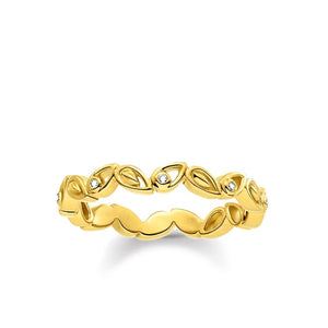 Gold Plated & White Zirconia Leaves Ring | Thomas Sabo