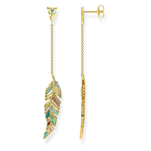 Gold Plated & Colourful Enamel Feather Earrings | Thomas Sabo