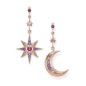 Royalty Star & Moon Earrings  - Rose Gold