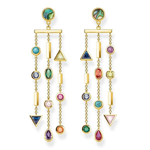 Gold Plated Colourful Stones Earrings | Thomas Sabo